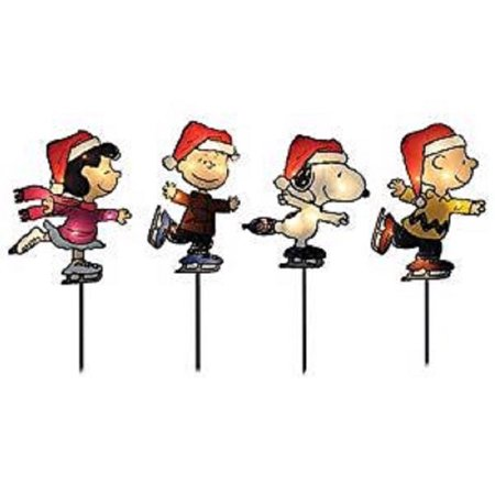Northlight Pre-Lit Snoopy and Peanuts Ice Skating Pathway Markers - Set of 4