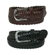 Size Small Boys Leather Adjustable Braided Dress Belt (Pack of 2 Colors), Black and Brown