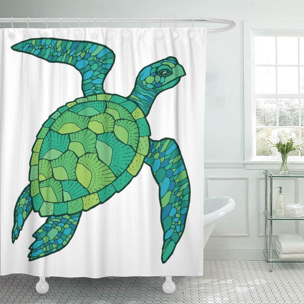 Ksadk Green Silhouette Sea Turtle Drawing Tattoo Animal Aquatic Badge Black Cartoon Cute Shower Curtain Bath Curtain 66x72 Inch Walmart Com Walmart Com