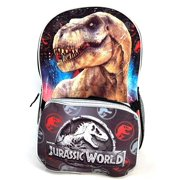 "16"" Jurassic World/Park Book bag School Backpack Lunch Box SET"