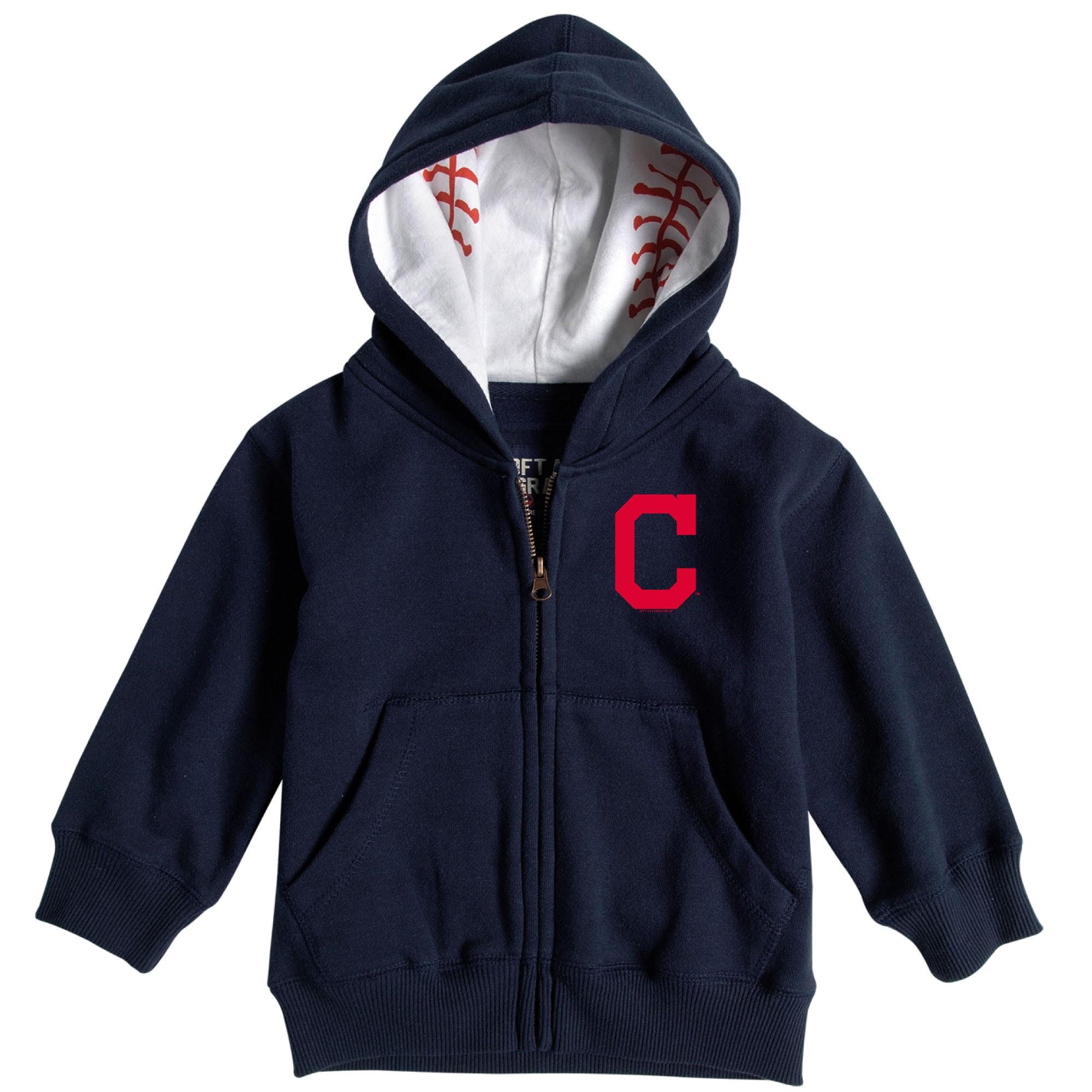 Cleveland Indians Soft as a Grape Toddler Baseball Print Full-Zip Hoodie - Navy