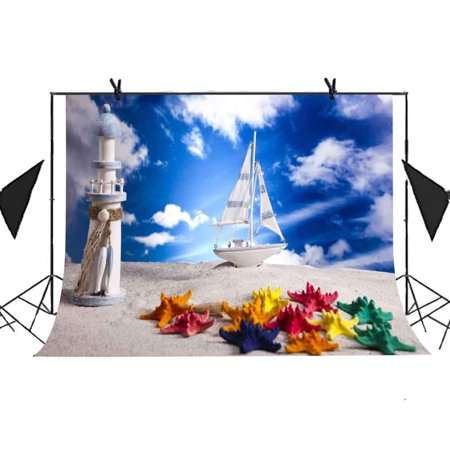 MOHome Polyster 7x5ft Children Paradise Backdrop Boat Lighthouse Starfish Beach Background Newborn Child Photo Studio Props Party Curtain Background