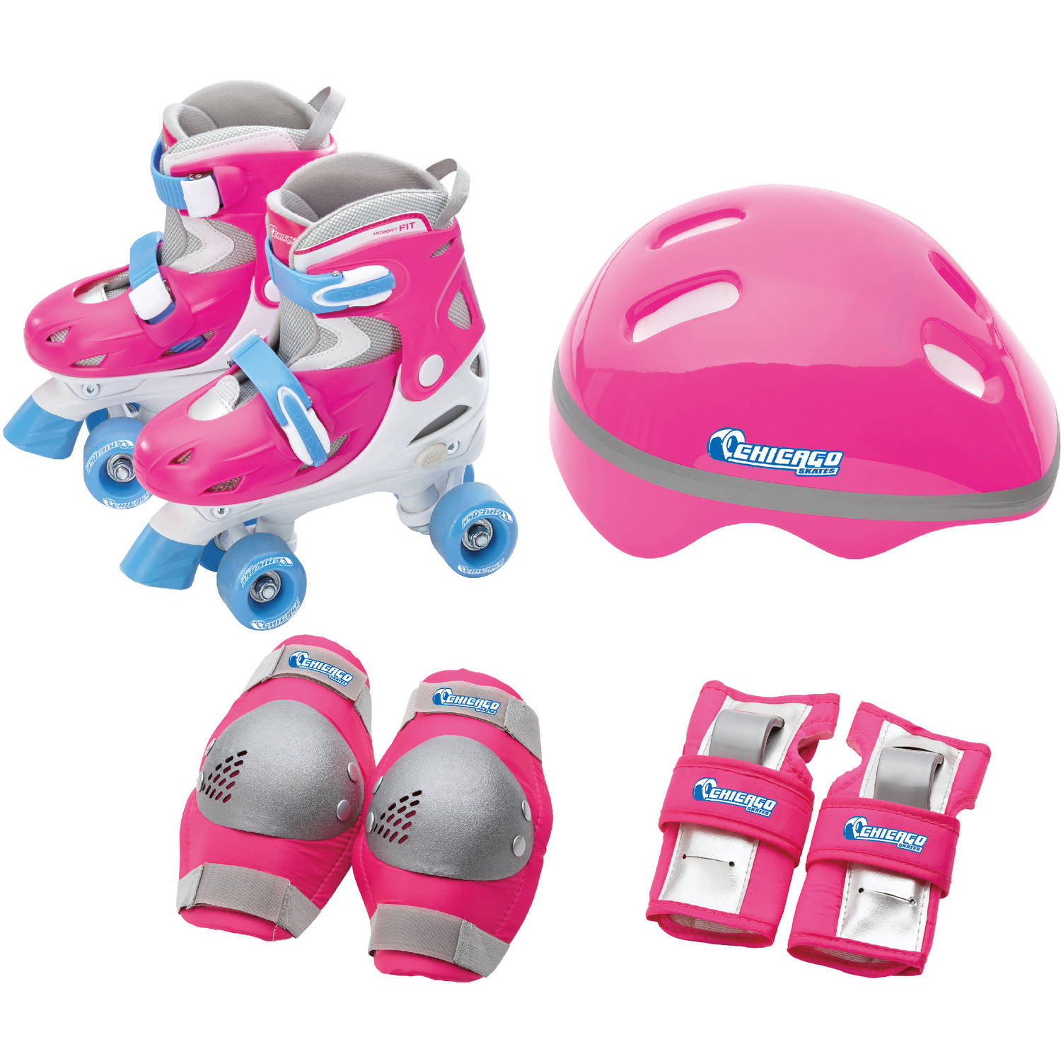 Chicago Girls' Adjustable Quad Combo, Size J10-J13