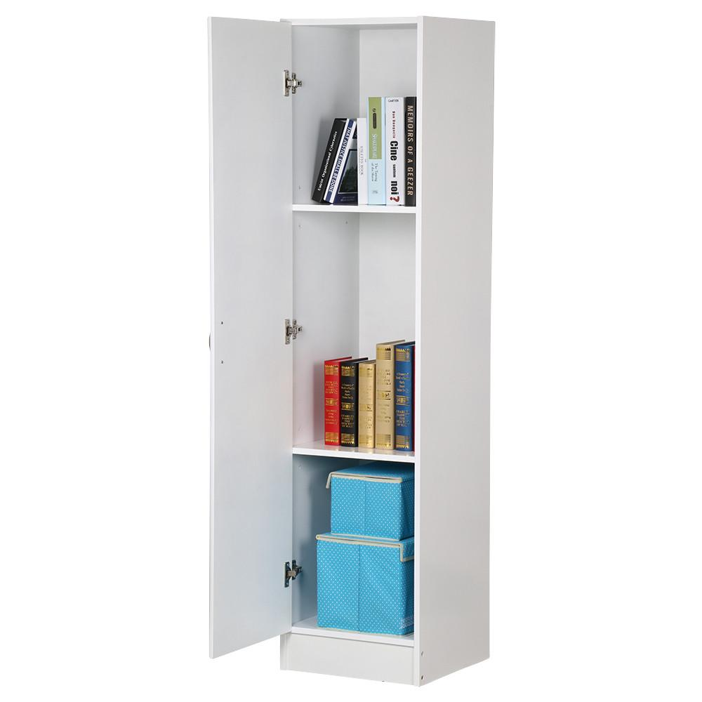 yaheetech 3 tier white single door narrow utility storage cabinet with adjustable shelves for bathroom office