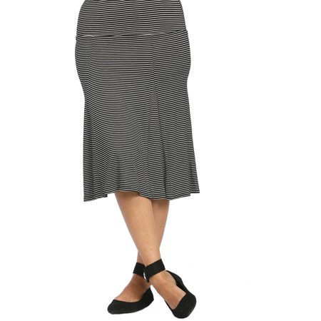 24/7 Comfort Apparel Women's Striped Calf-Length Skirt