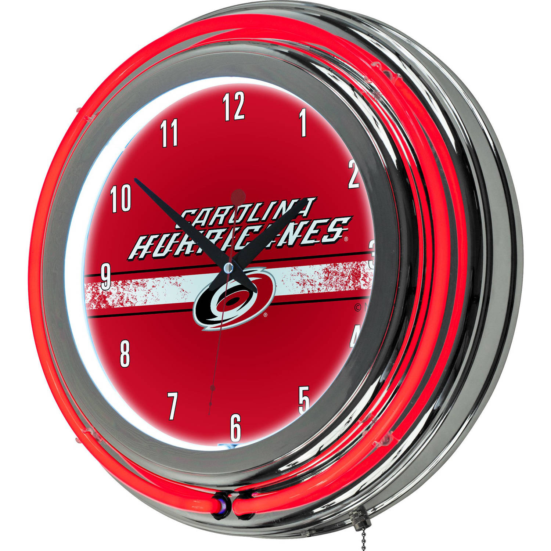 NHL Chrome Double Rung Neon Clock, Carolina Hurricanes