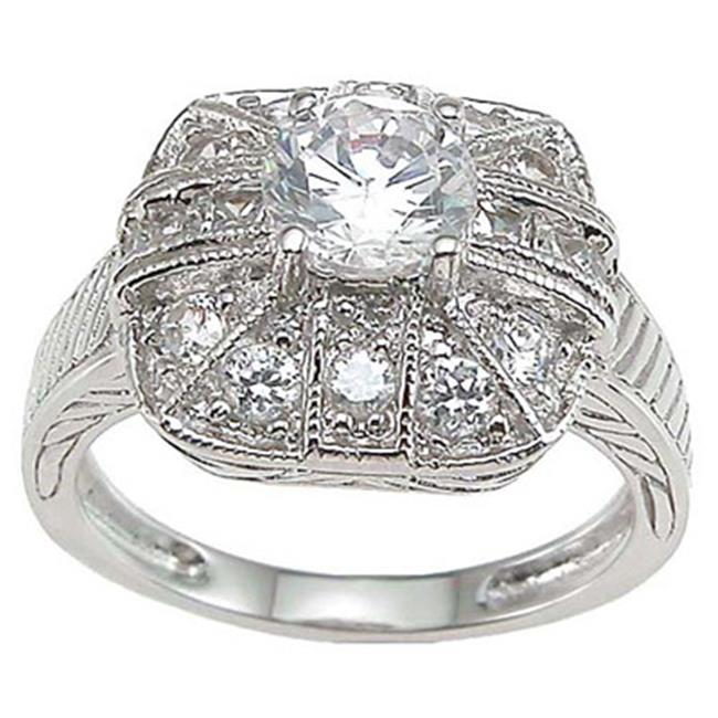 Plutus kkr6636d 925 Sterling Silver Rhodium Finish CZ Antique Style Anniversary Ring Size 9