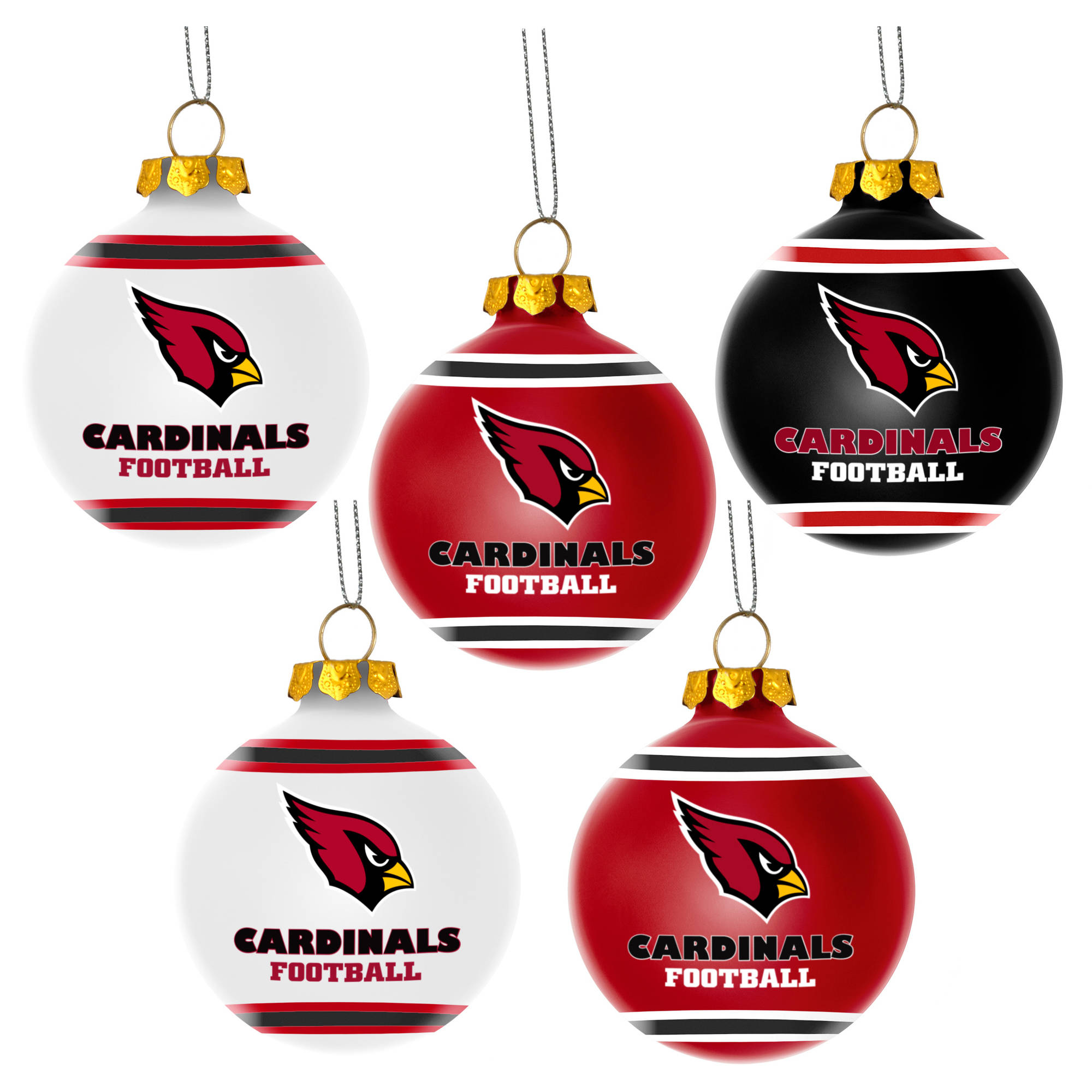 Forever Collectibles NFL 5-Pack Shatterproof Ball Ornaments, Arizona Cardinals