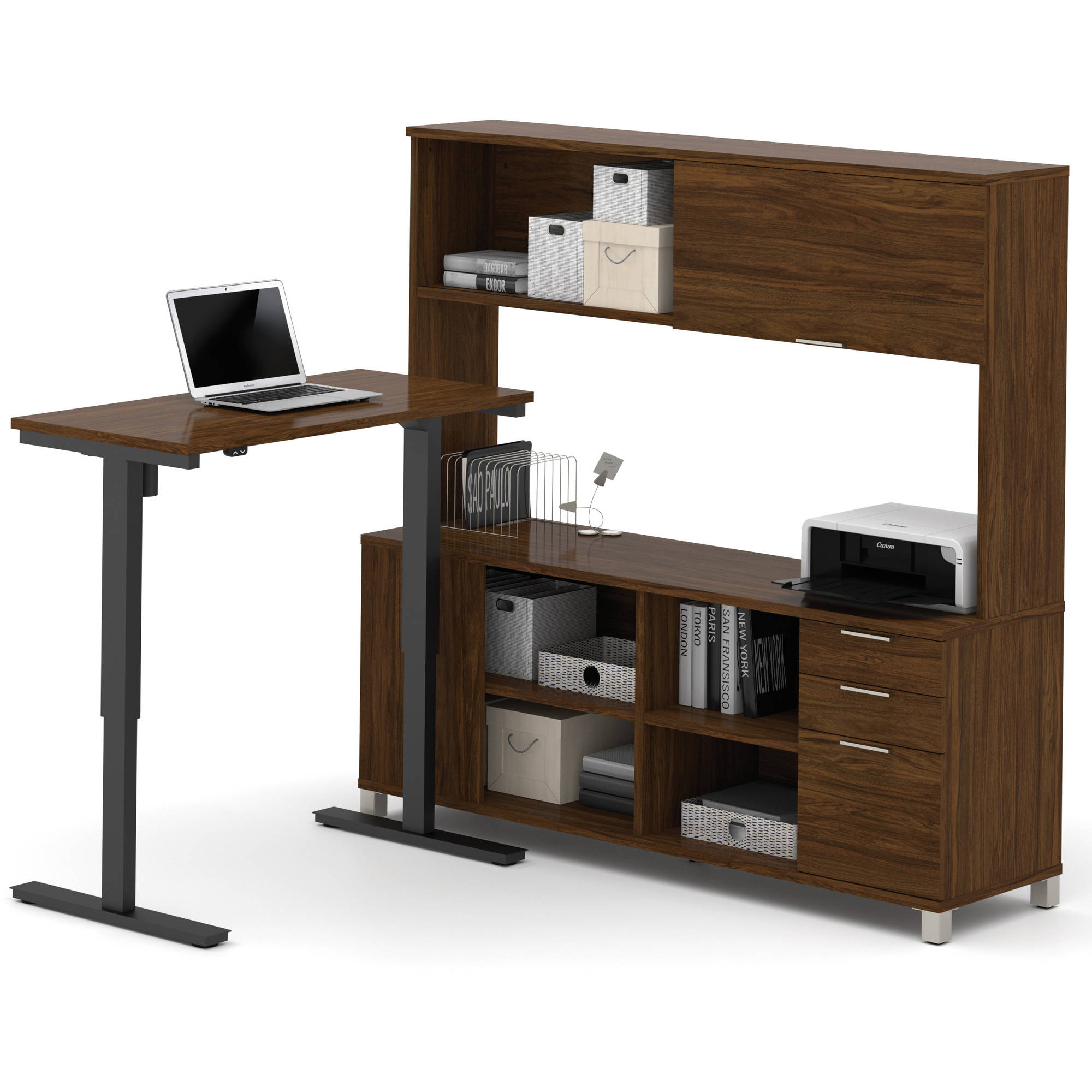 Bestar Pro-Linea L-Desk with Hutch Including Electric Height Adjustable Table, Multiple Colors