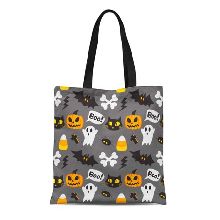 SIDONKU Canvas Tote Bag Orange Cute Halloween Cartoon Autumn Bat Black Celebration Reusable Shoulder Grocery Shopping Bags Handbag