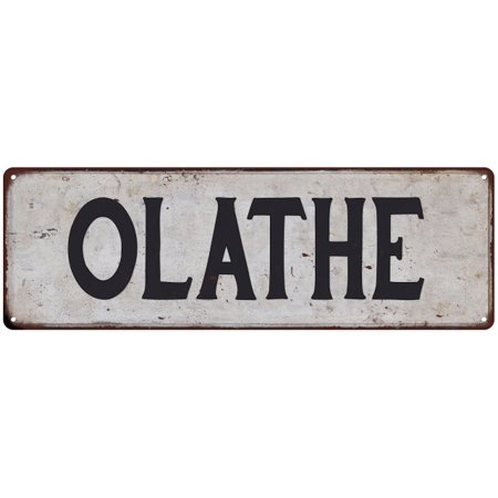 OLATHE Vintage Look Rustic Metal 6x18 Sign City State 206180041066