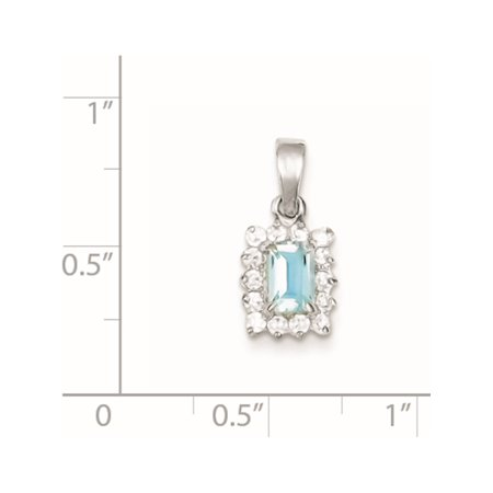 925 Sterling Silver Blue Topaz & CZ (9x18mm) Pendant / Charm - image 1 of 2