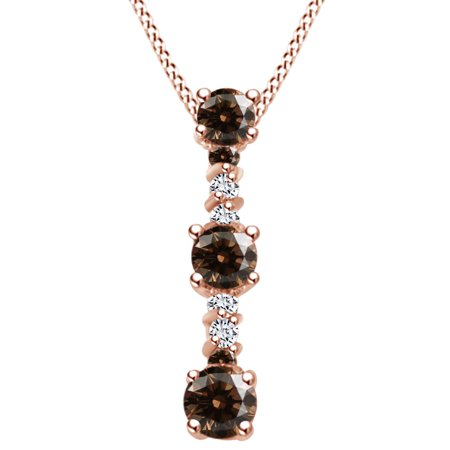 1 Carat (Ctw) Round Shape Brown & White Natural Diamond Bar Pendant Necklace In 14k Solid Rose Gold