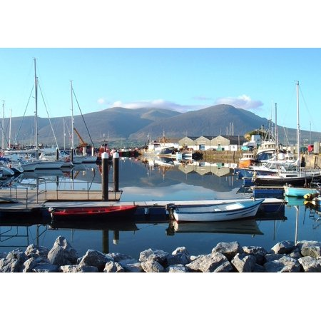 Bay Harbor Marina (LAMINATED POSTER Ships Harbor Port Ireland Bay Water Marina Boats Poster Print 11 x 17)