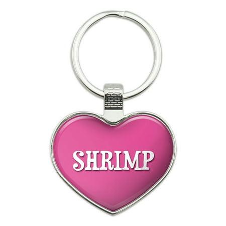 I Love Shrimp Heart Metal Key Chain