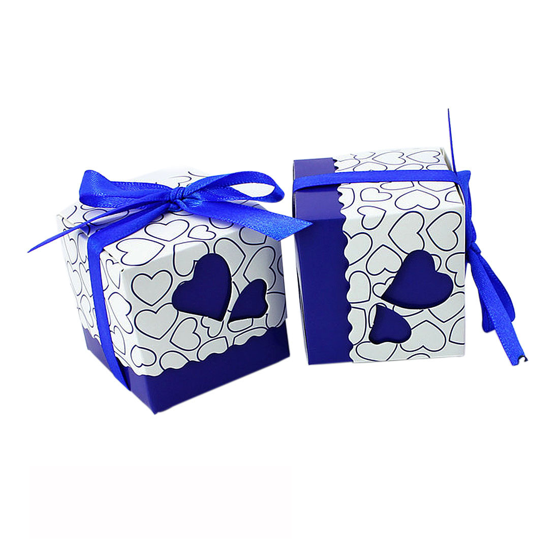 50Pcs European Style Love Heart Pattern Favor Candy Box Gift Box with Ribbon DIY Wedding Party Baby Shower - Dark Blue
