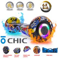 "Chic® UL 2272 Certified 6.5"" Hoverboard Bluetooth Speaker LED 2 Wheel Smart Electric Self Balancing Scooter Graffiti Free Bag (HB-Z29-GRAFFITI-169)"