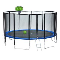 Exacme 15 FT Round Trampoline with 400 LBS Weight Limit&Upgraded Carbon Fiber Support Pole With Green Basketball Hoop