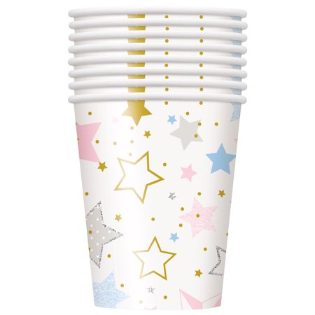 Twinkle Twinkle Little Star Paper Cups, 9 oz, 8ct (Pink Party Cups)