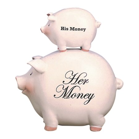 His Money and Her Money Stacked Pigs Piggy Bank Ceramic 8