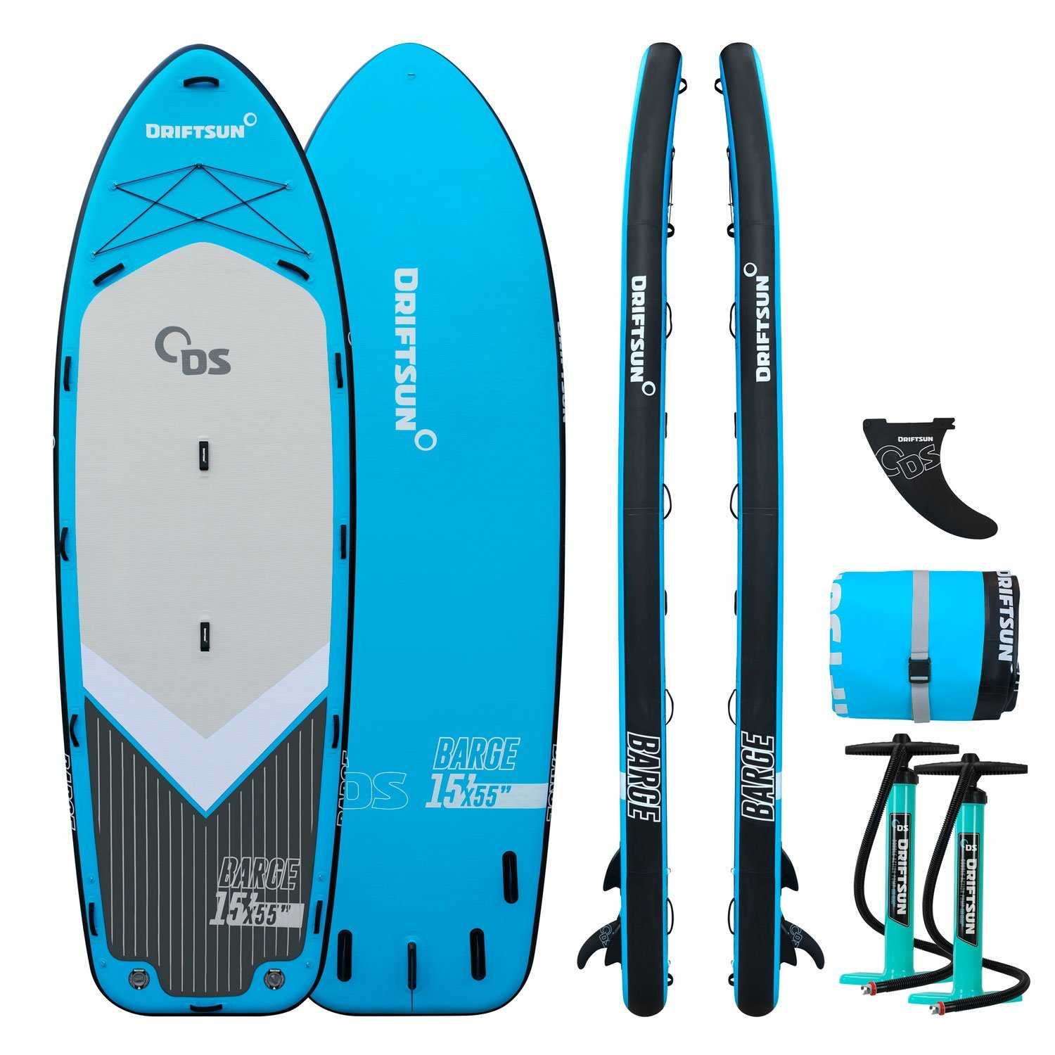 Driftsun Party Barge 15 Paddle Board Mega iSUP � Large Multi Person Inflatable Paddleboard with 2 Dual Action Hand Pumps by Driftsun