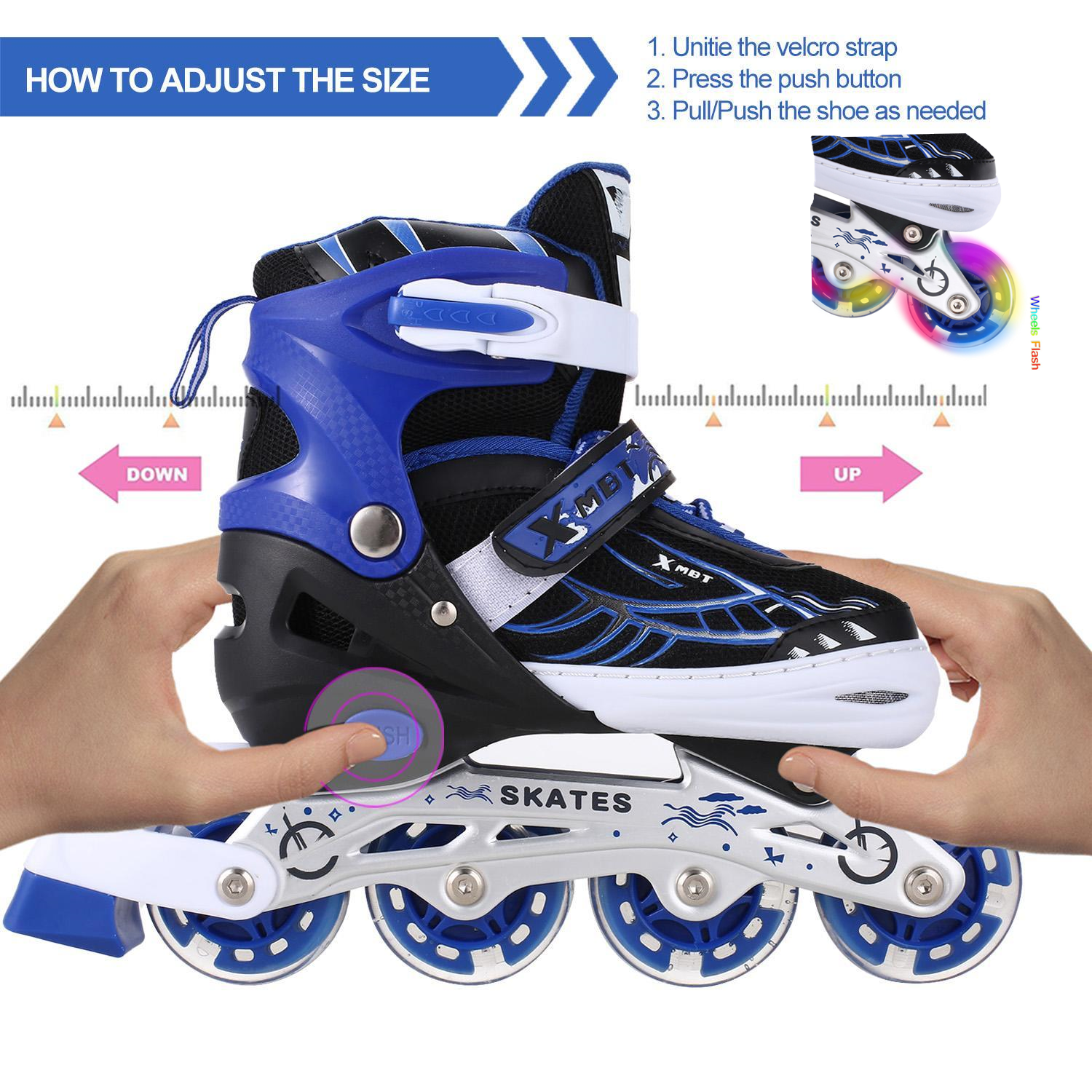 2019 The Newest! Adjustable Inline Skates for Women Kids with LED Wheels Beginner Rollerblades Fun Illuminating Roller Skates Women Kids Boys and girls Size 12J-8 Outdoor Indoor Hifahion