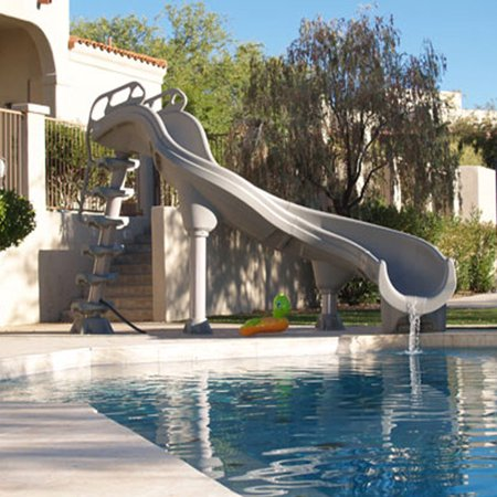 Interfab Adrenaline In Ground Swimming Pool Slide - Right Turn - Summit Gray