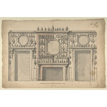 - Two Variant Designs for the Interior of a Room Decorated with Porcelains Fireplace in Center and With the Doorways at Either Side Poster Print by Anonymous Italian first half of the 18th century (18 x