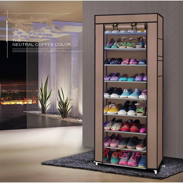 Ktaxon 10 Layer 9 Grid Shoe Rack Shelf Storage Closet Boot Organizer Cabinet Portable,Multi-color