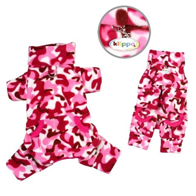 Klippo Pet KBD069XL Pink Camouflage Fleece Turtleneck Pajamas - Extra Large