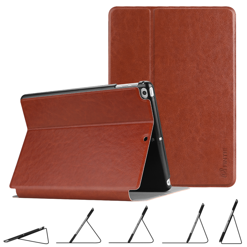 """Fintie iPad 9.7"""" 6th / 5th Gen, iPad Air 1/2 Multi-Angle Viewing Slim Shell Case Cover, Saddle Brown"""