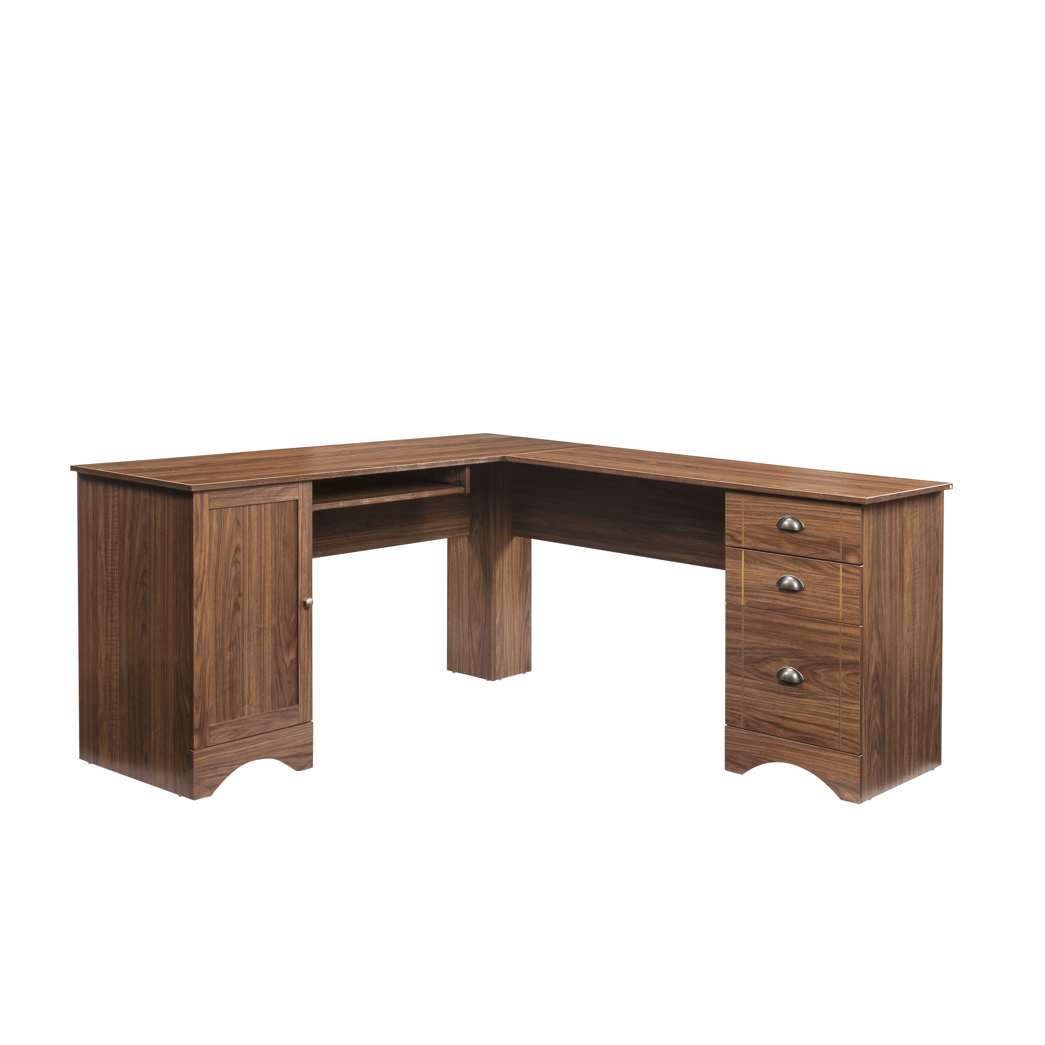 L-Shaped Desk, Modern Corner Computer Table with three ...