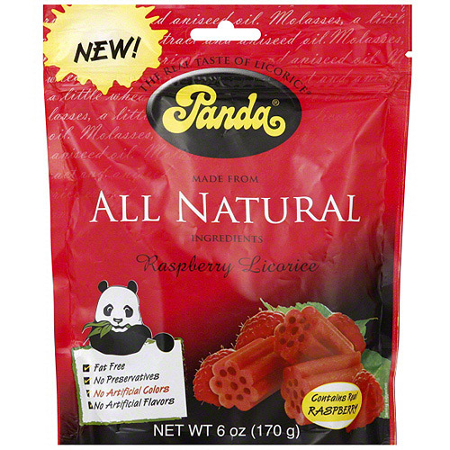 ***Discontinued by Kehe 05_27***Panda Raspberry Licorice Candy, 6 oz (Pack of 12)