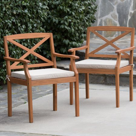 Belham Living Brighton Dining Arm Chair Set of 2 with Cushion - Natural