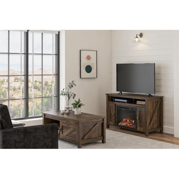 """Ameriwood Home Farmington Electric Fireplace TV Console for TVs up to 50"""", Multiple Colors"""