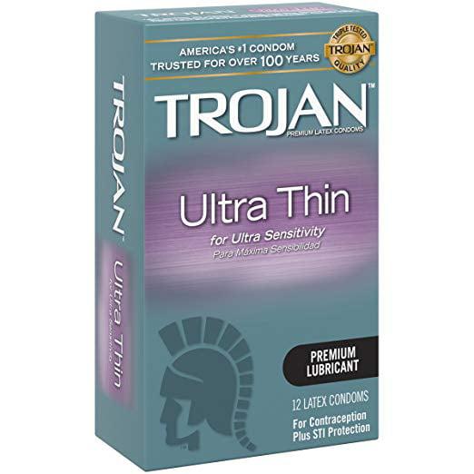 Trojan Ultra Thin + Brass Pocket Case, Sheer Premium Lubricated Latex Condoms 12 Count