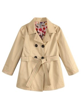 Richie House Little Girls Cream Floral Lining Fabric Trench Coat 3