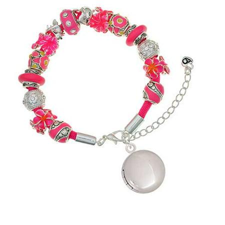 Silvertone 20mm Round Locket Hot Pink Flowers Bead Bracelet