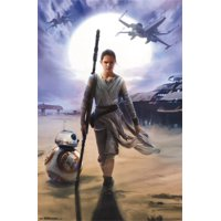 Star Wars The Force Awakens - Rey Laminated & Framed Poster Print (24 x 36)