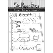 "Two Paper Divas Clear Stamps 8.5""X4.5""-Mason Jar Accessory Set #3, Pk 1"