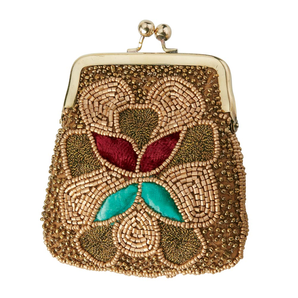 Women's Embroidered Coin Purse - Gold