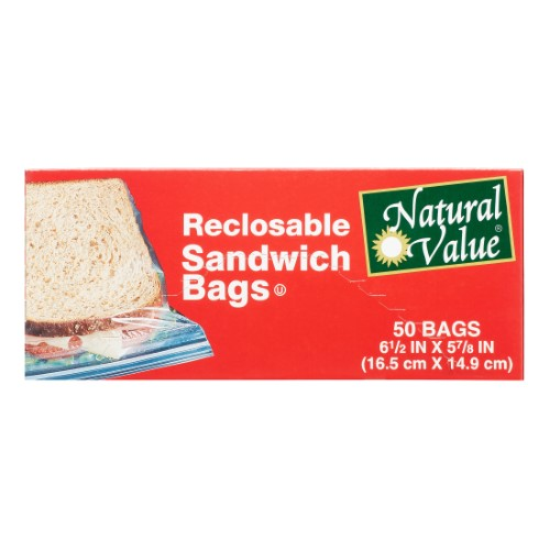 Natural Value Recloseable Sandwich Bags, 50 Ct