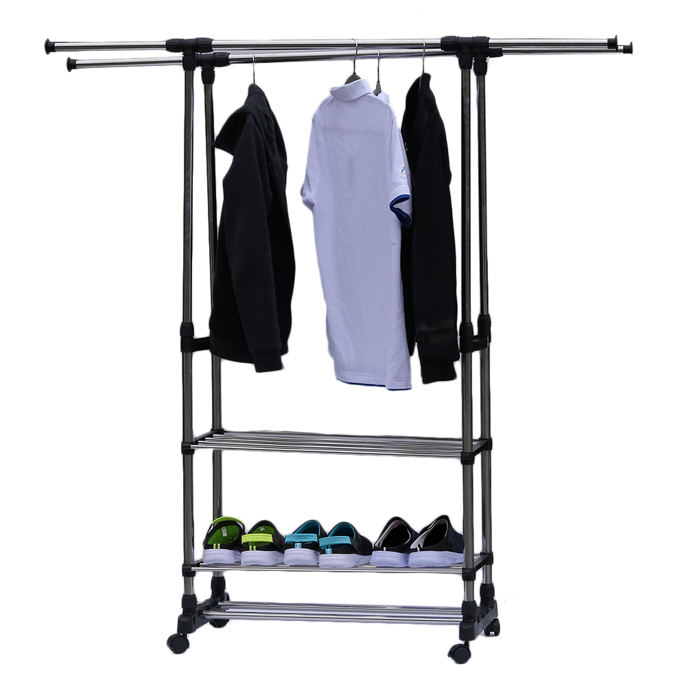 heavy duty double rail adjustable clothing garment rack portable hanger with rolling wheels