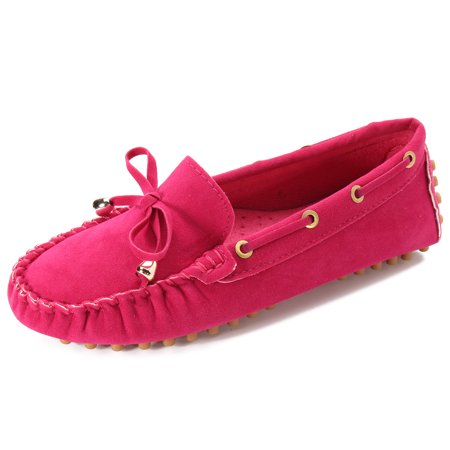 Womens Slip On Suede Flat Loafers Ladies Casual Ballerina Ballet Shoes ()