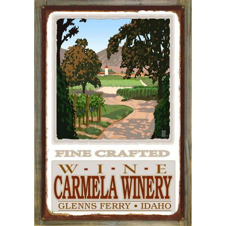 """Carmela Winery Fine Wine Field Rustic Metal Print on Reclaimed Barn Wood by Mike Rangner (24"""" x 36"""")"""