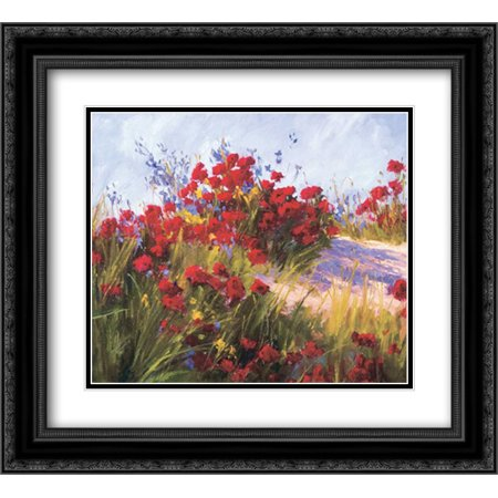 206 Matt - Red Poppies and Wild Flowers 2x Matted 22x20 Black Ornate Framed Art Print by Curt, Brigitte