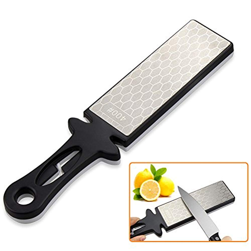 Squad Marketing Knife Sharpener Stone Handheld New 400/1000grit Double Sided Diamond Sharpening Stone for Knife and Scissor (Black+White) (Silver)