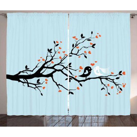 Engagement Party Curtains 2 Panels Set, Happy Bird Couple Perching on Tree with Heart Shaped Flowers, Window Drapes for Living Room Bedroom, 108W X 63L Inches, Baby Blue Orange Black, by Ambesonne