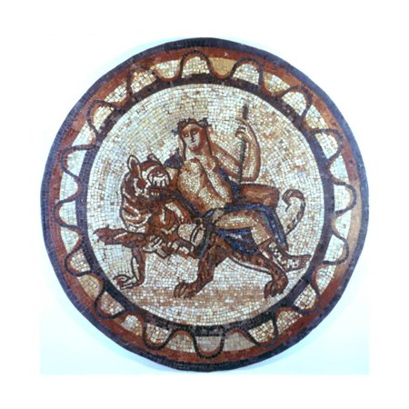 Bacchus, Ancient Roman God of Wine, Riding on a Tiger, Roman Mosaic, 1st or 2nd Century Print Wall Art