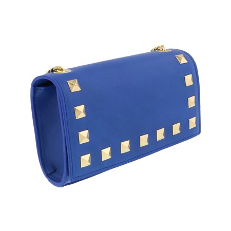 Scheilan  Electric Blue Leather Studded Mini Crossbody/Shoulder Bag Studded Leather Mini